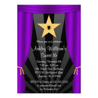 Hollywood Star Purple Curtains Sweet 16 Birthday Invites