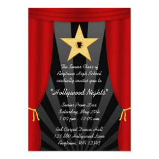 "Hollywood Star Red Curtain Prom Formal Invitation 5"" X 7"" Invitation Card"