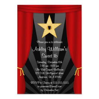 "Hollywood Star Red Curtains Sweet 16 Birthday 4.5"" X 6.25"" Invitation Card"