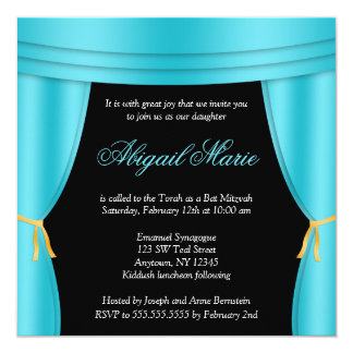Hollywood Teal Blue Curtain Bat Mitzvah Square 13 Cm X 13 Cm Square Invitation Card