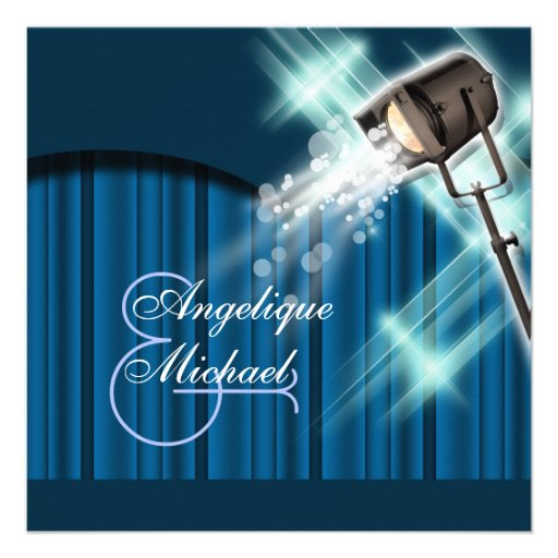 Hollywood wedding movie theater party custom announcement