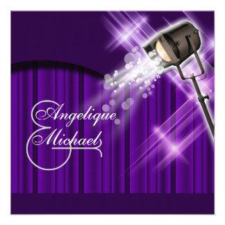 Hollywood wedding purple stars custom invite