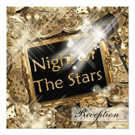 Hollywood wedding reception gold black personalized announcement