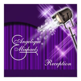 Hollywood wedding reception purple 13 cm x 13 cm square invitation card