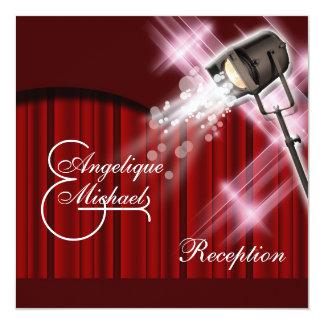 Hollywood wedding reception red black white 13 cm x 13 cm square invitation card
