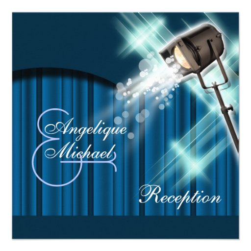 Hollywood wedding reception stage theater custom invitations