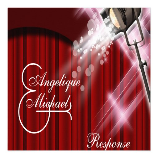 Hollywood wedding response red black white personalized invite