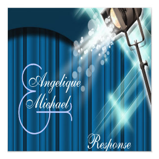 Hollywood wedding response stage theater 13 cm x 13 cm square invitation card