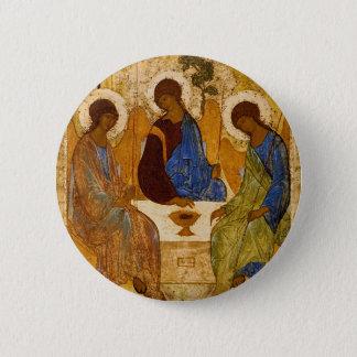 Holy Trinity Icon Rublev Byzantine Catholic Gift 6 Cm Round Badge