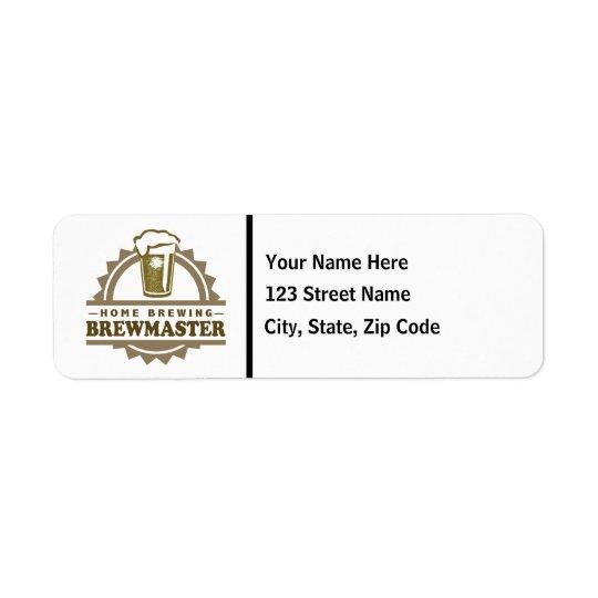 Home Brew Beer Brewmaster Return Address Label