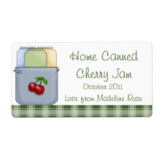 Home Canned Cherry Jam Jar Label (Personalize)