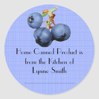 Home Canning Labels -- with blueberries Round Sticker