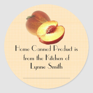 Home Canning Labels -- with Peaches Round Sticker