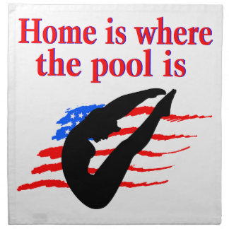 HOME IS WHERE THE POOL IS DIVING DESIGN NAPKIN