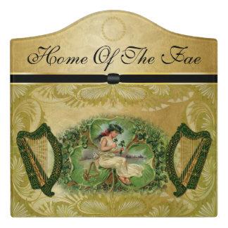 """Home Of The Fae"" Fairy, Harps & Shamrocks Door Sign"