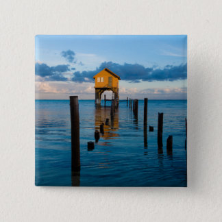 Home on the Ocean in Ambergris Caye Belize 15 Cm Square Badge