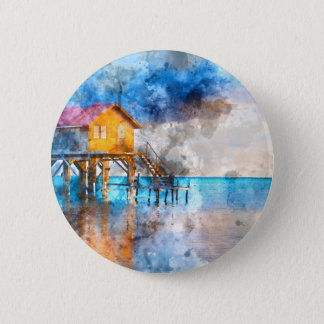 Home on the Ocean in Ambergris Caye Belize_ 6 Cm Round Badge