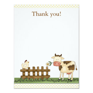 Home Sweet Farm Cow Thank you Card 4.25 x 5.5 11 Cm X 14 Cm Invitation Card
