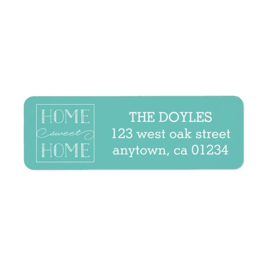 Home Sweet Home Aqua | Return Address Labels