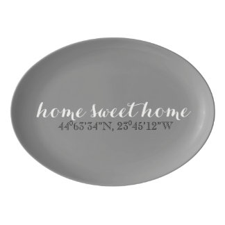 Home Sweet Home GPS Coordinates Serving Platter Porcelain Serving Platter