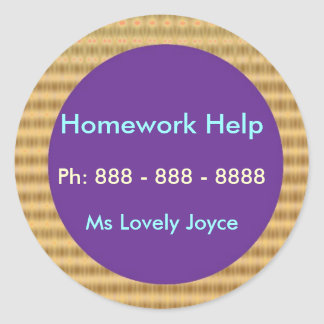 Homework Help - Business Support Products Classic Round Sticker