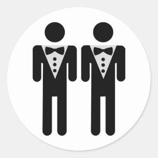 homosexual bridal couple icon classic round sticker