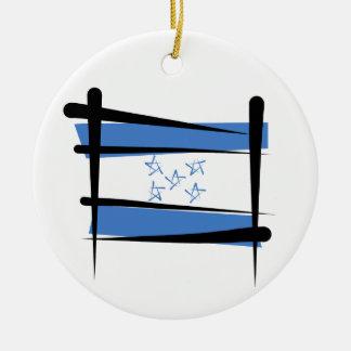 Honduras Brush Flag Christmas Ornament