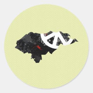 Honduras Trendy Peace Sign with Honduran map Round Stickers