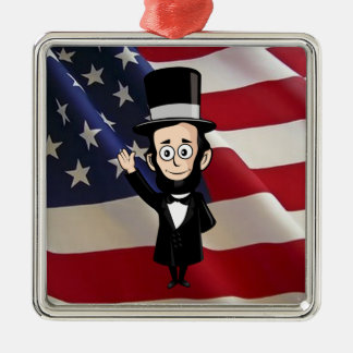 Honest Abe Lincoln and Old Glory Flying High Christmas Ornament