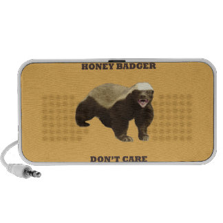 Honey Badger Don't Care On Beeswax Background Portable Speakers