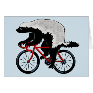 Honey Badger On a Bicycle Card