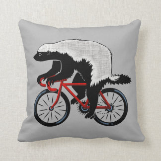 Honey Badger On a Bicycle Cushion