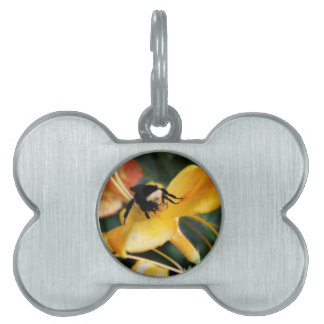 Honey Bee and Tiger Lily Pet Name Tag