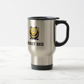 honey bee in yellow travel mug