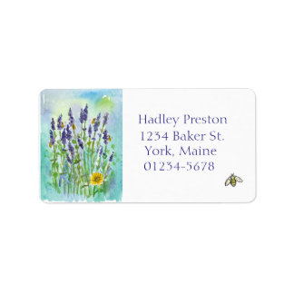 Honey Bee Lavender Watercolor Flowers Address Label