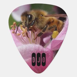 Honey Bee on Crabapple Blossom your Initials Plectrum