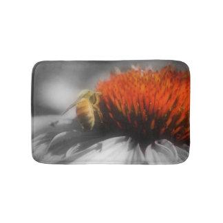 Honey Bee On Daisy Flower Nature Bath Mat