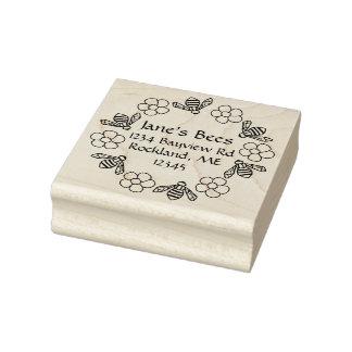 Honey Bees Flowers Custom Name Rubber Stamp