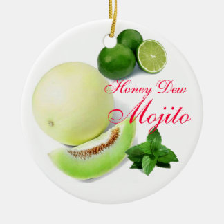 Honey Dew Mojito Favor Round Ceramic Decoration