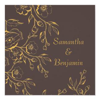 Honey Gold Autumn Floral Wedding 13 Cm X 13 Cm Square Invitation Card