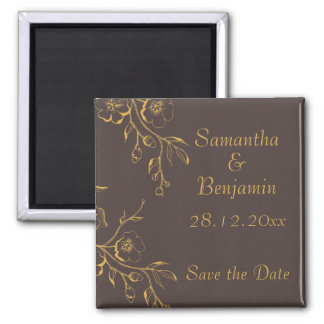 Honey Gold Autumn Floral Wedding Save the Date Magnet