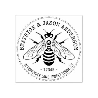 Honeybee Bee Wedding | Name and Return Address Rubber Stamp