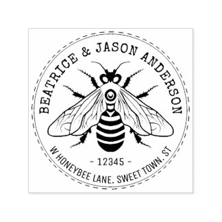 Honeybee Bee Wedding | Name and Return Address Self-inking Stamp