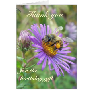 Honeybee on Asters Birthday Gift Thank You Card