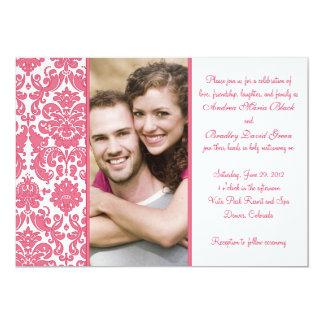 Honeysuckle Pink Damask Photo Wedding Invitation
