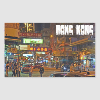 Hong Kong at night rectangle sticker