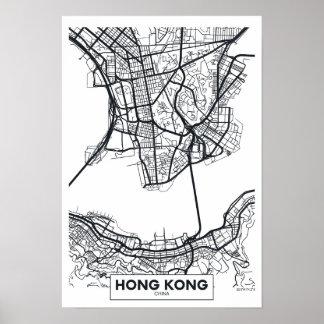 Hong Kong, China | Black and White City Map Poster
