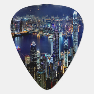 Hong Kong City Skyline Lights at Night Guitar Pick