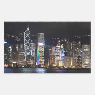 Hong Kong Harbour at night Rectangular Sticker