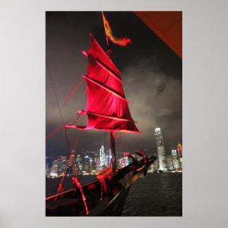 Hong Kong Skyline: JunkBoat Print